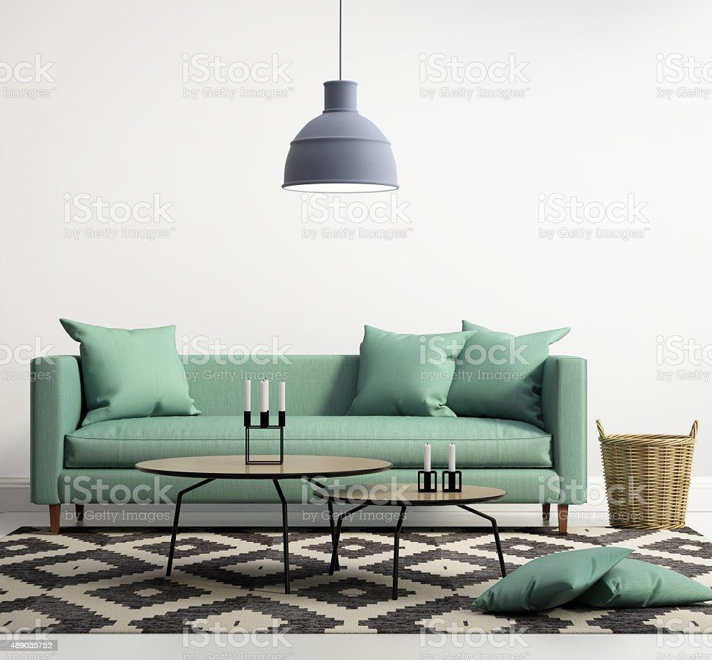 Green contemporary modern sofa stock photo