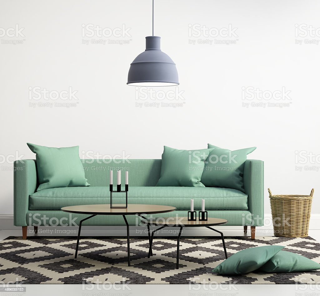 Green contemporary modern sofa stock photo