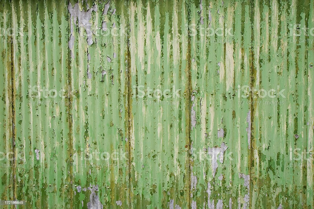 Green Corrugated Metal royalty-free stock photo