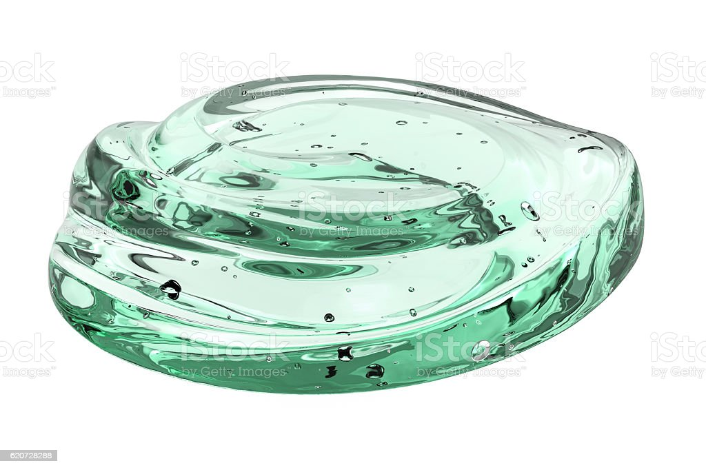 green cosmetic gel isolated on white stock photo