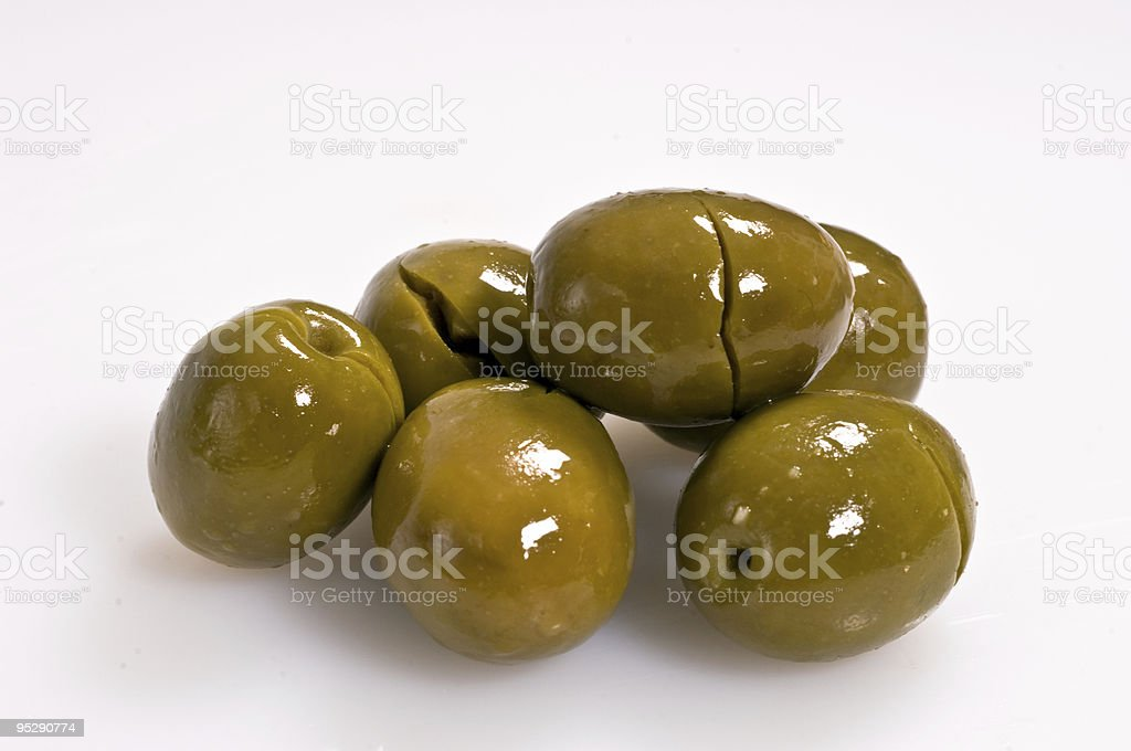 green cracked olives royalty-free stock photo