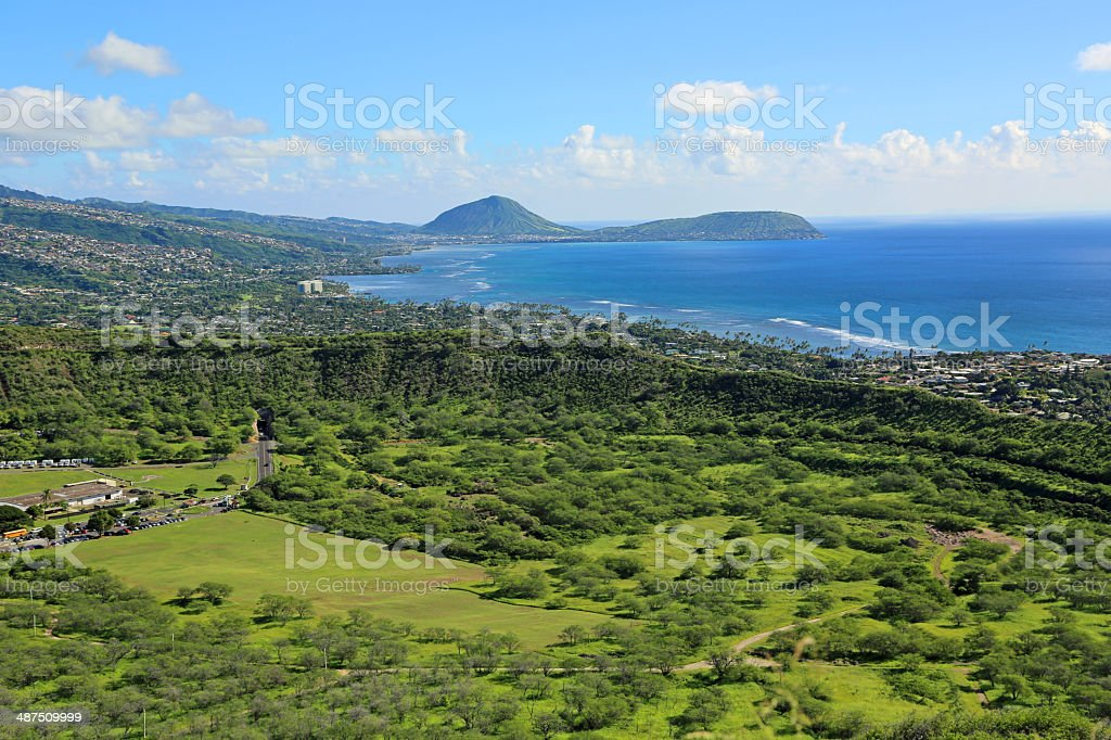 Green crater of Diamond head with Koko in background stock photo