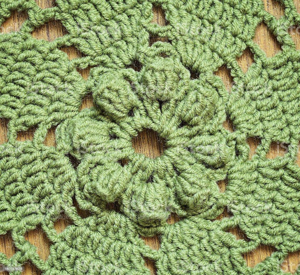 Green crochet background royalty-free stock photo