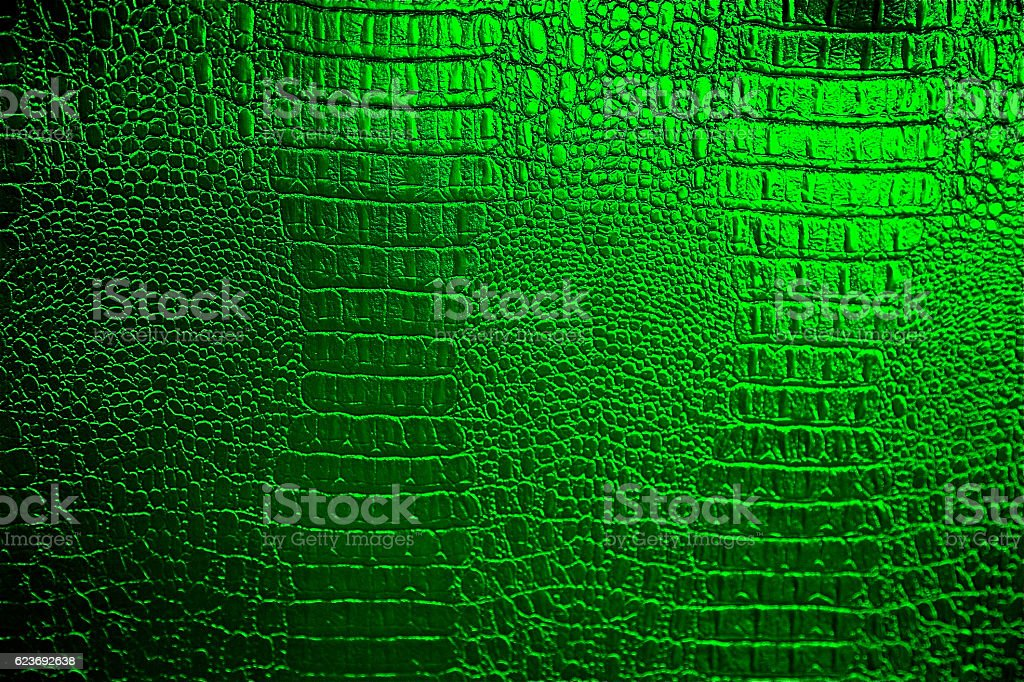 Green Crocodile Alien Skin Dinosaur Reptile Leather Texture Pattern Background stock photo