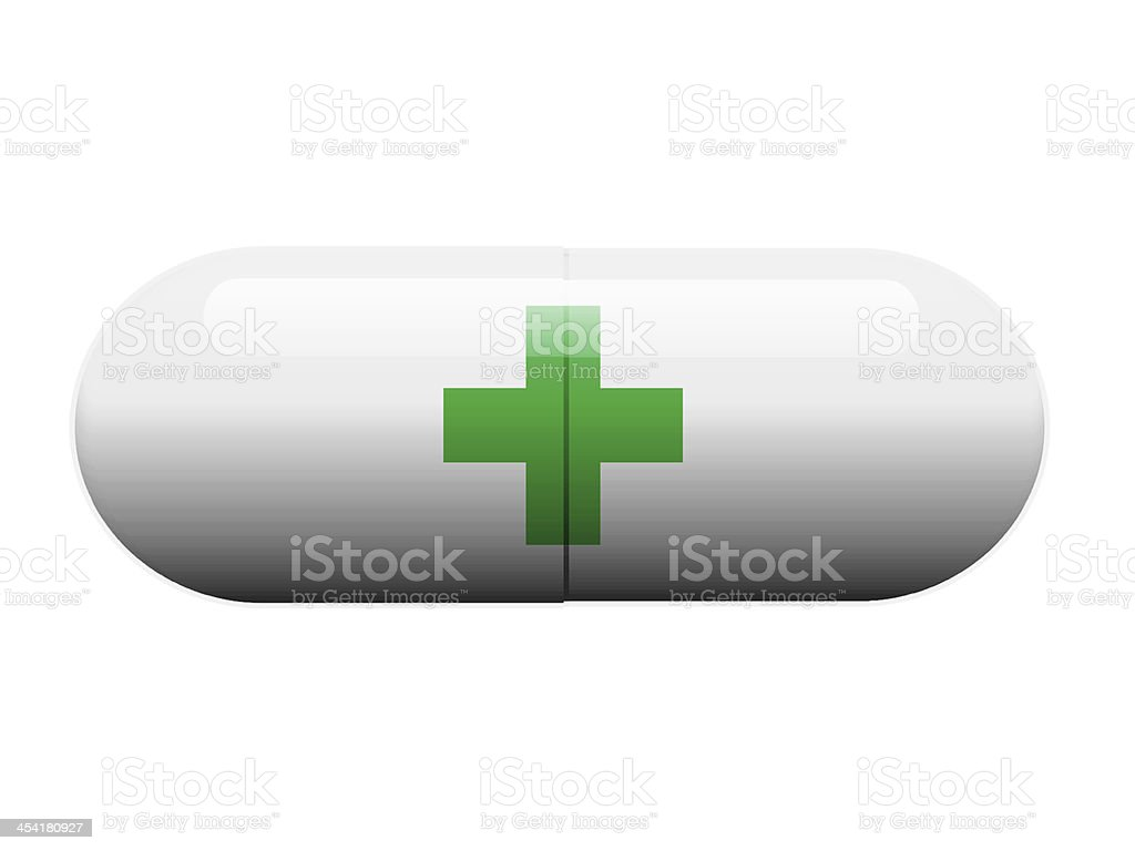 Green Cross pill royalty-free stock photo