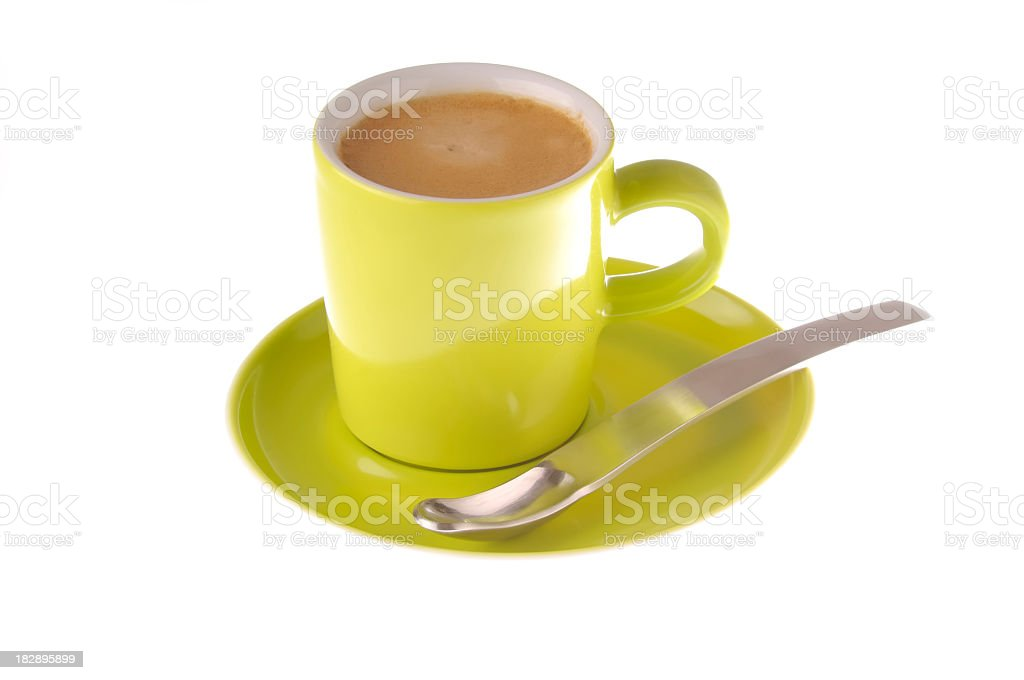Green cup of coffe stock photo