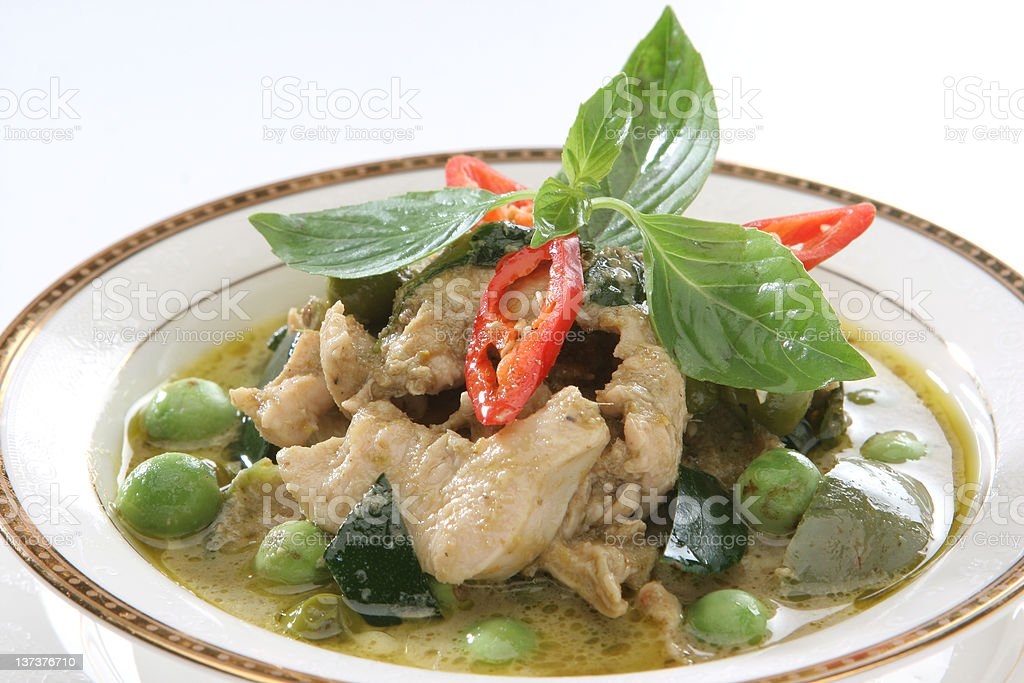 Green curry chicken isolated on white royalty-free stock photo