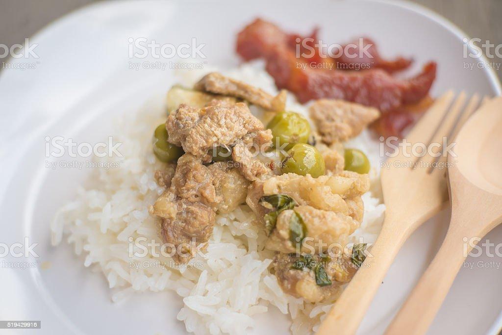 green curry pork and fried pork with cooked rice stock photo