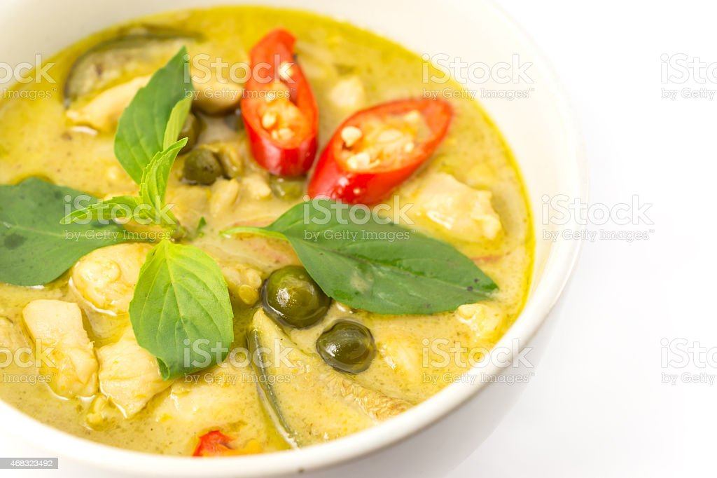 Green curry soup stock photo