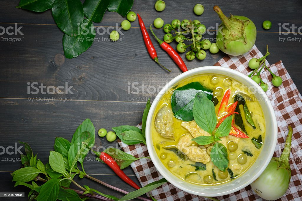 green curry with chicken stock photo