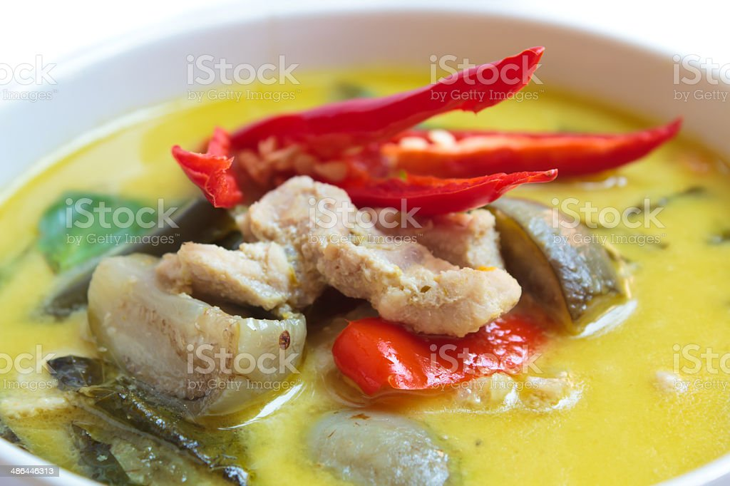 Green curry with pork, Thai food. royalty-free stock photo