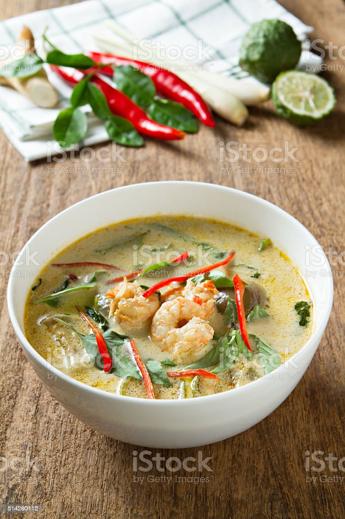 Green curry with shrimp. Thai cuisine. (kang keaw wan) stock photo