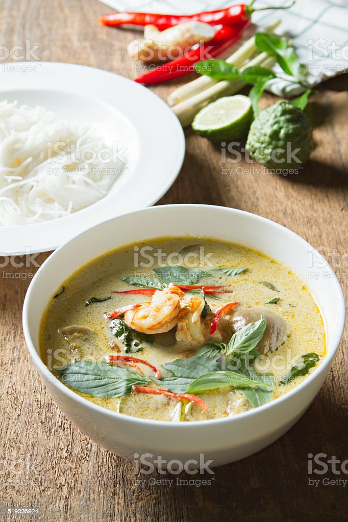 Green curry with shrimp.Thai cuisine. (kang keaw wan) stock photo