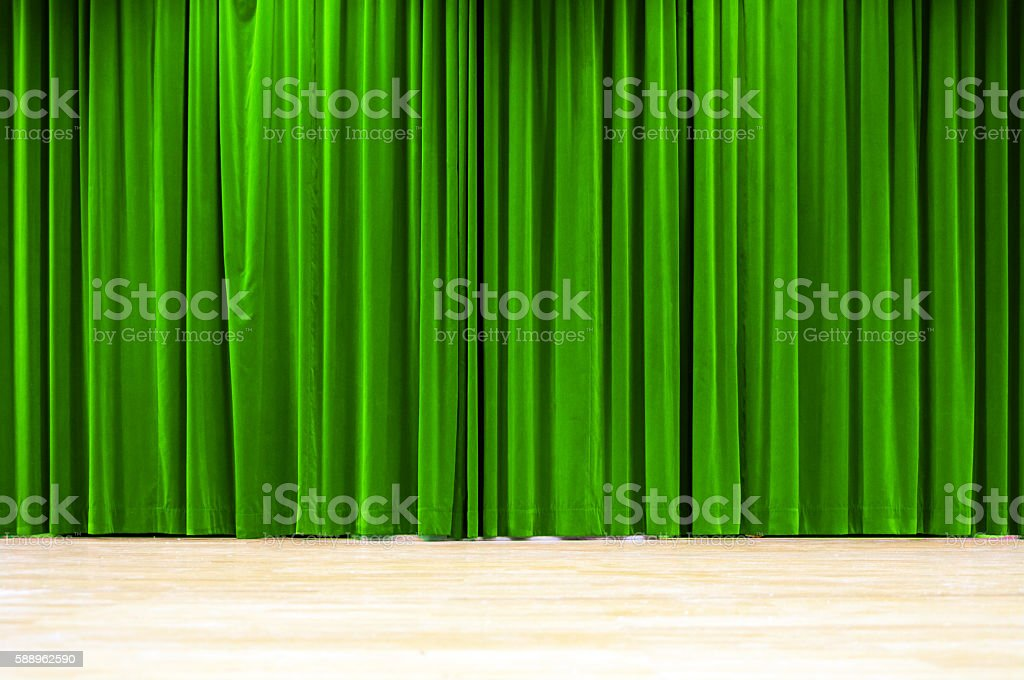 Green Curtain Stage royalty-free stock photo