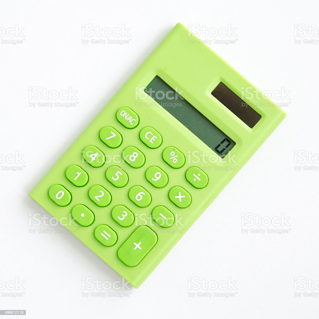 green cute calculator on white background stock photo