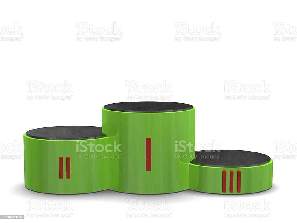 Green cylindrical sports victory podium with Roman numerals. Front view royalty-free stock photo