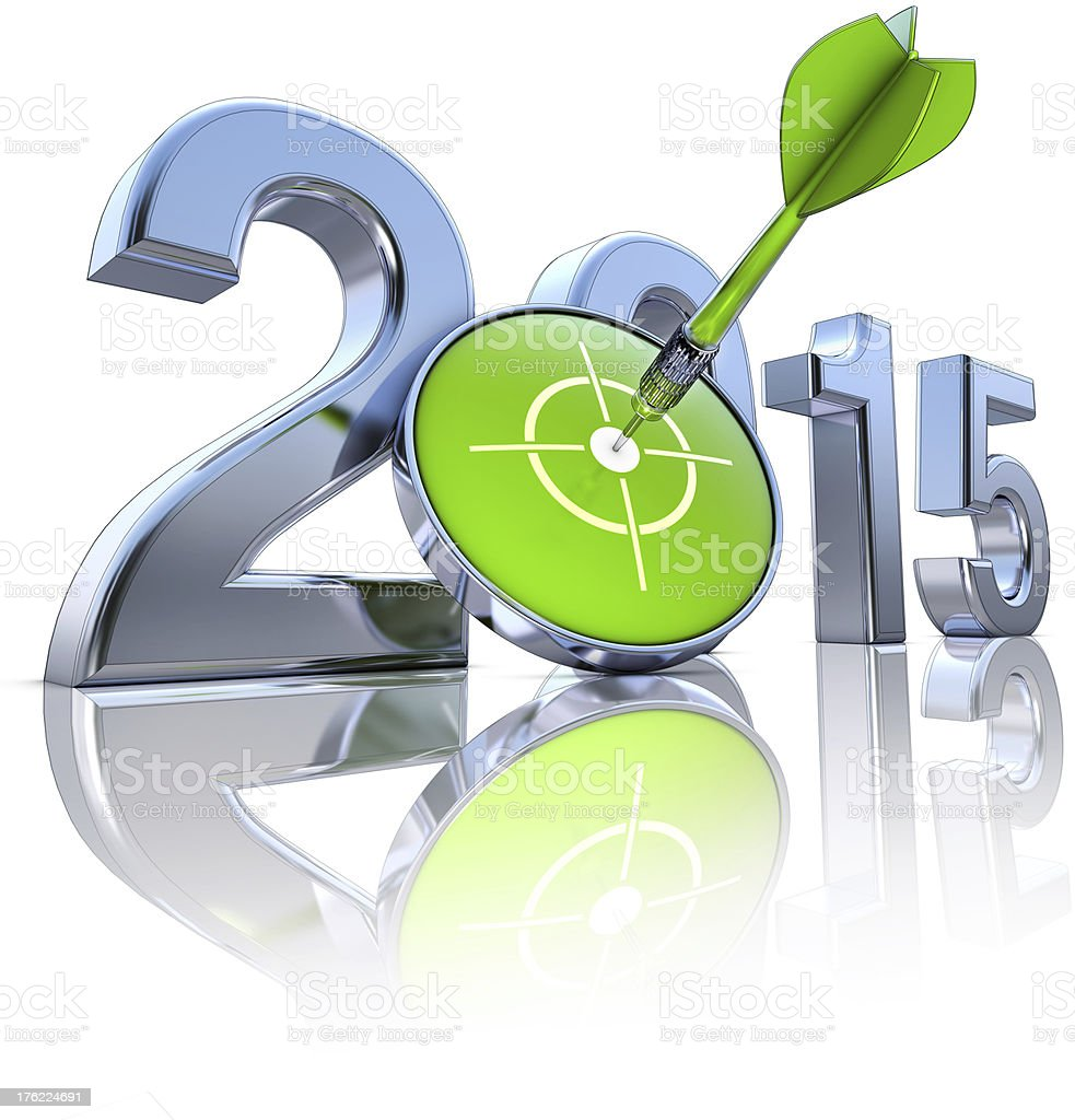 A green dart through a target for 2015 stock photo