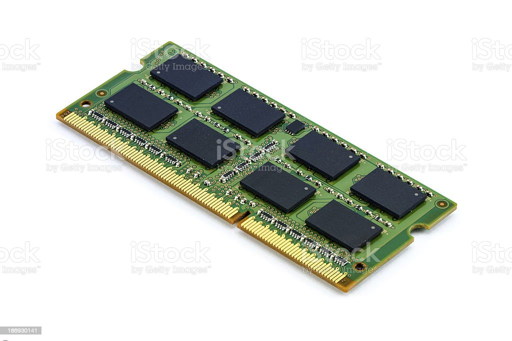 Green DDR RAM stick on isolated background stock photo