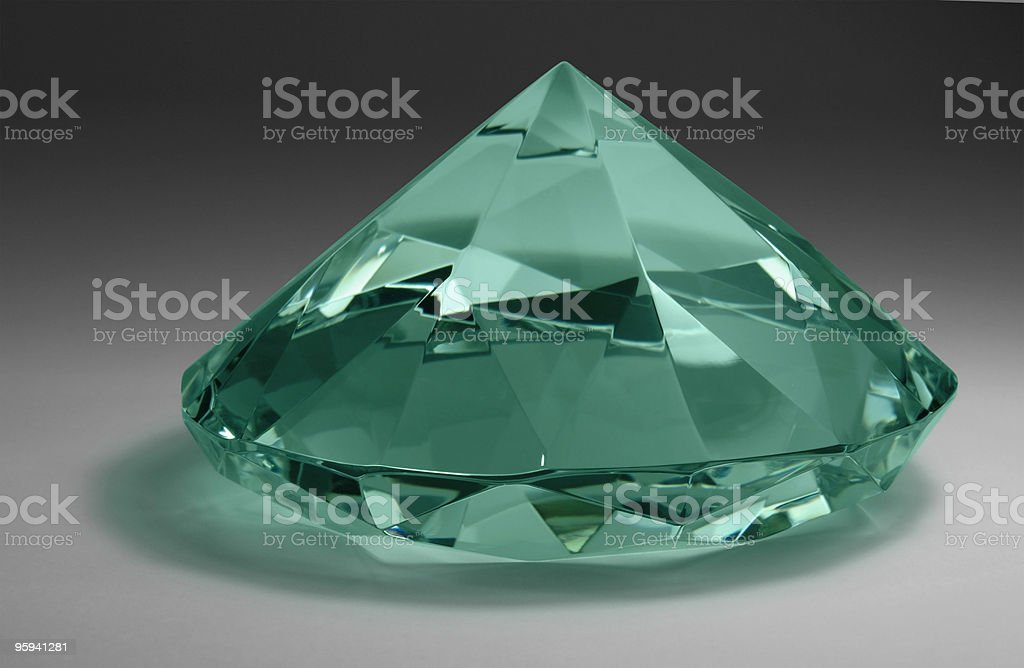 green diamond in gradient back royalty-free stock photo