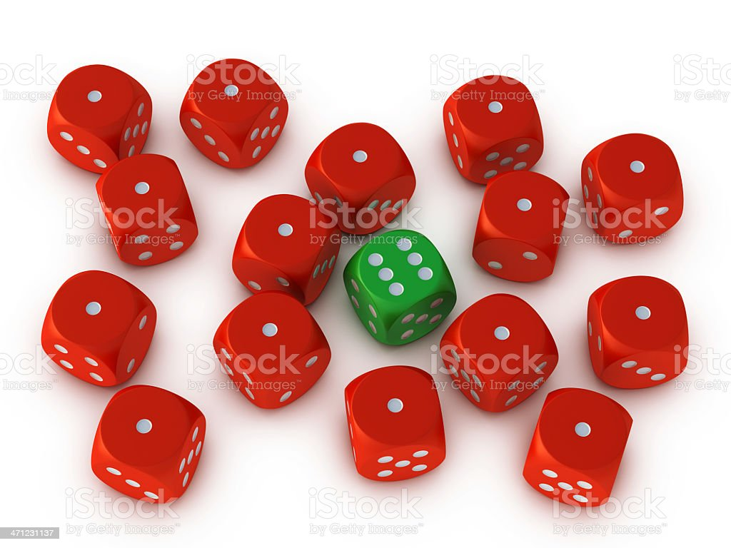 Green Dice Standing Out From The Crowd royalty-free stock photo