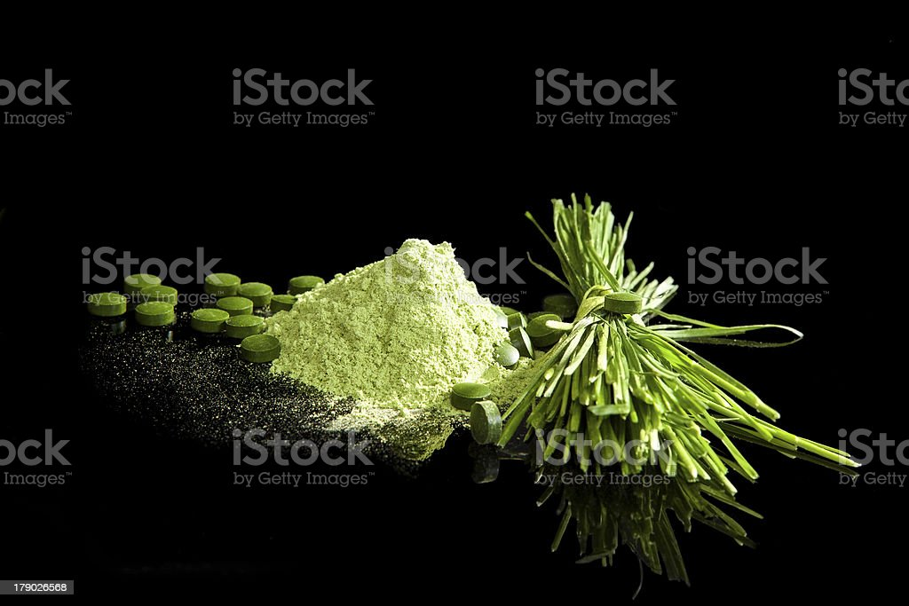 Green Dietary supplements. royalty-free stock photo