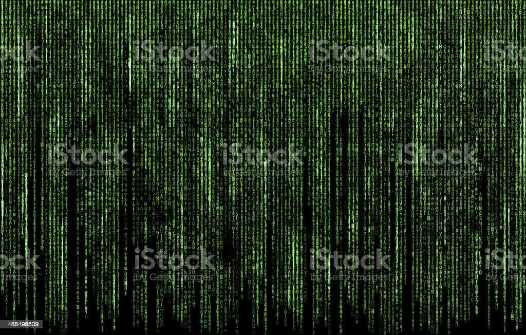 Green digital  code numbers in matrix style stock photo