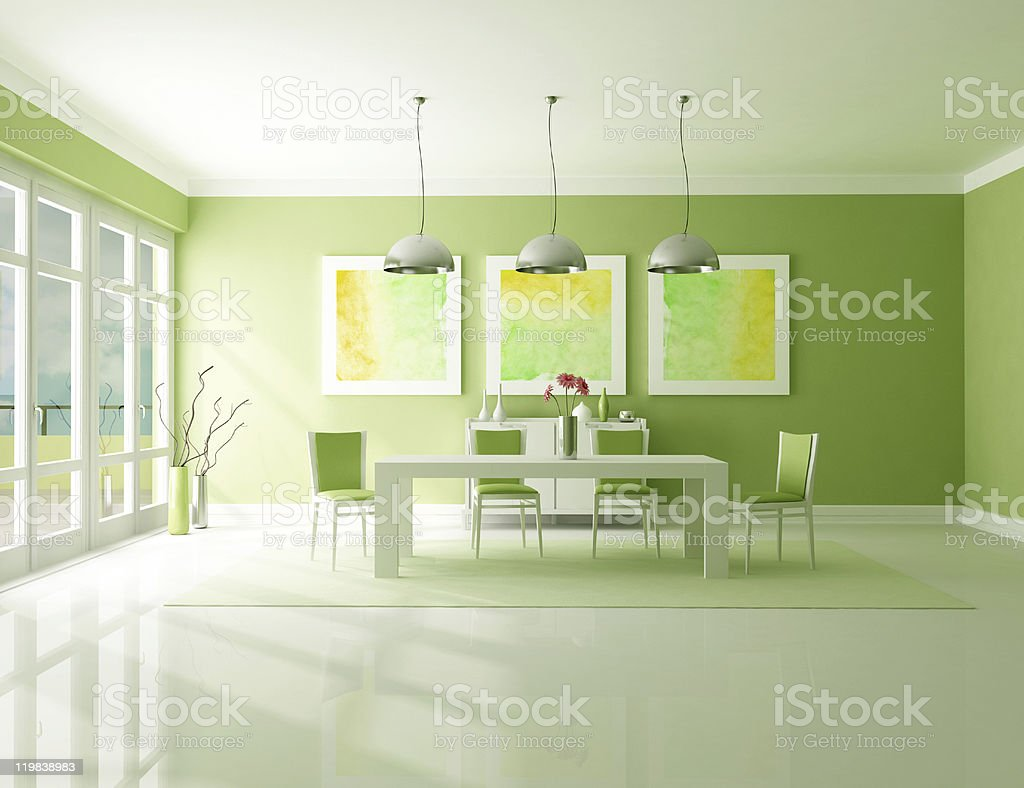 Green Dining room royalty-free stock photo