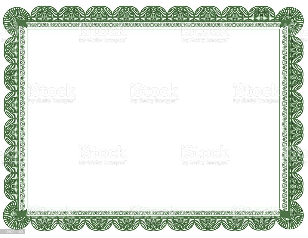 Green Document or Certificate Frame 8.5 x 11 stock photo