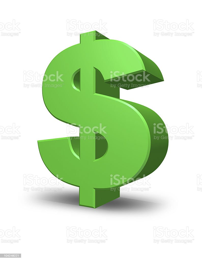 Green dollar sign in green and white stock photo