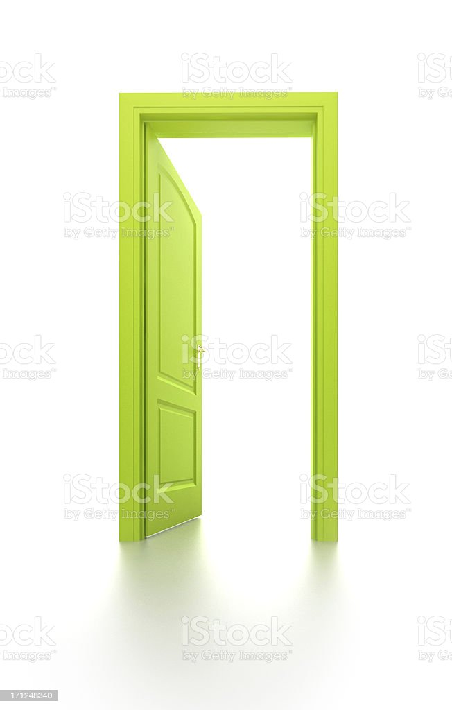 Green door. Hope, hopefulness, opportunity, expectancy and exit concept. stock photo