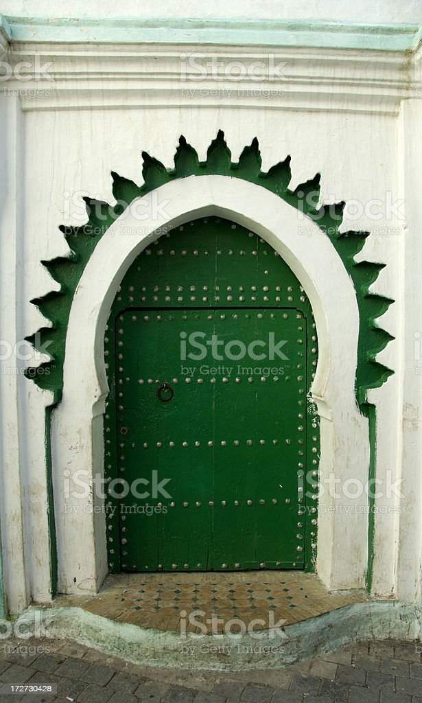 Green Door Tangiers Morocco royalty-free stock photo