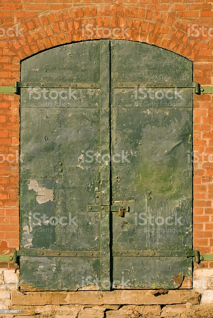 Green Doors stock photo