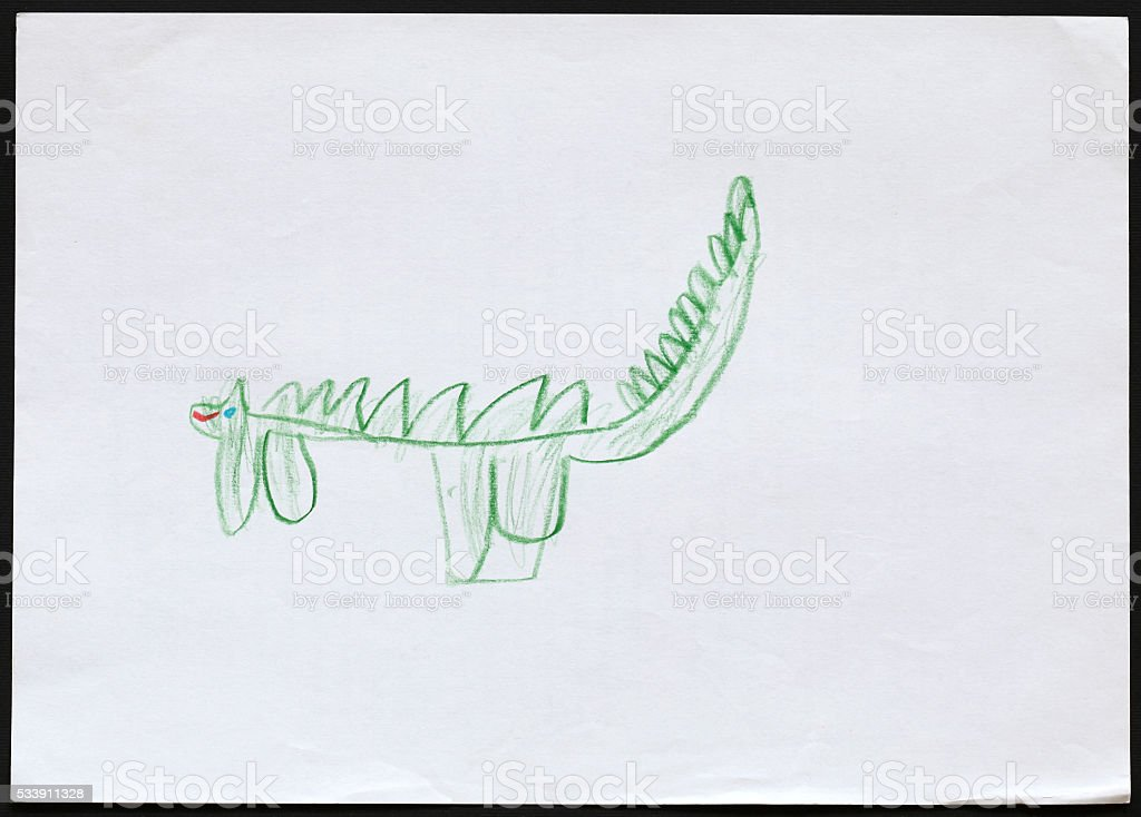 Green Dragon. Child's Drawing. stock photo