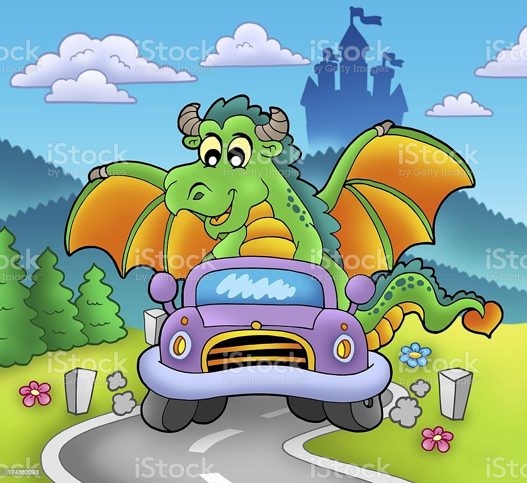 Green dragon driving car royalty-free stock photo