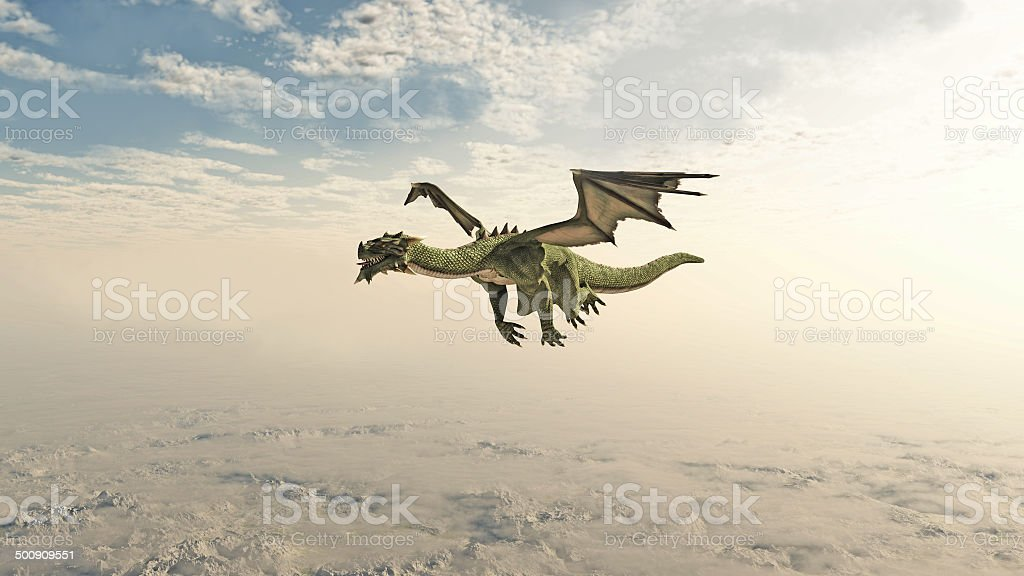 Green Dragon Flying through the Clouds vector art illustration