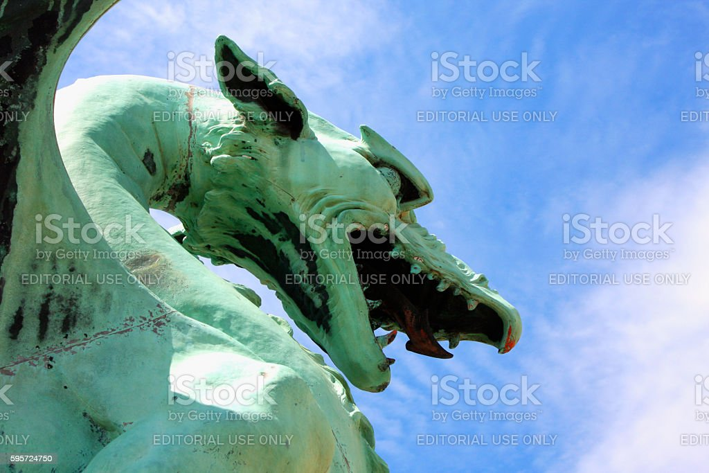 Green dragon in Ljubljana - Slovenia stock photo