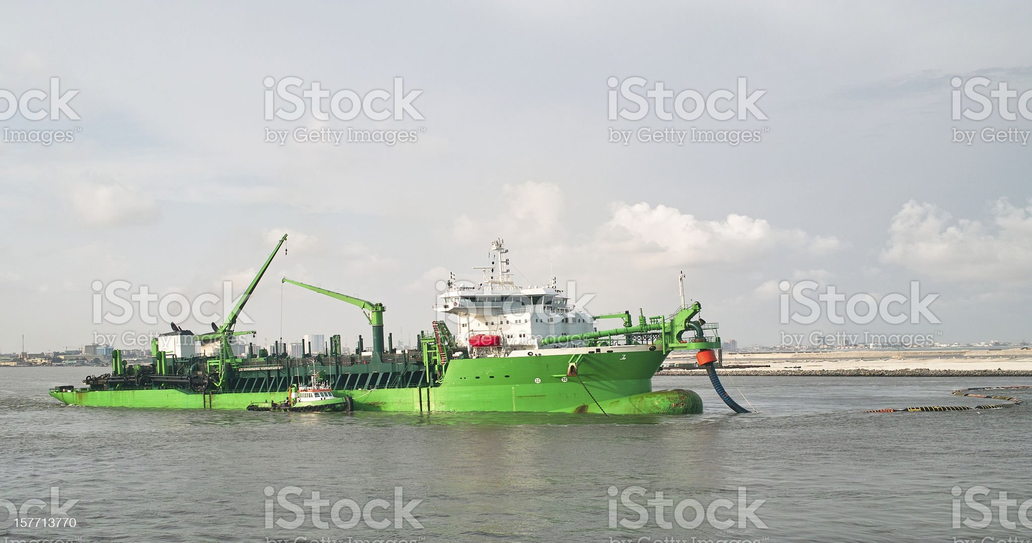 Green dredge royalty-free stock photo