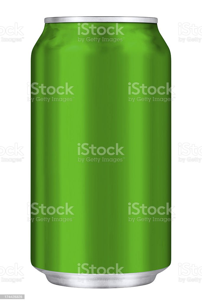 Green Drink Can With Clipping Path royalty-free stock photo