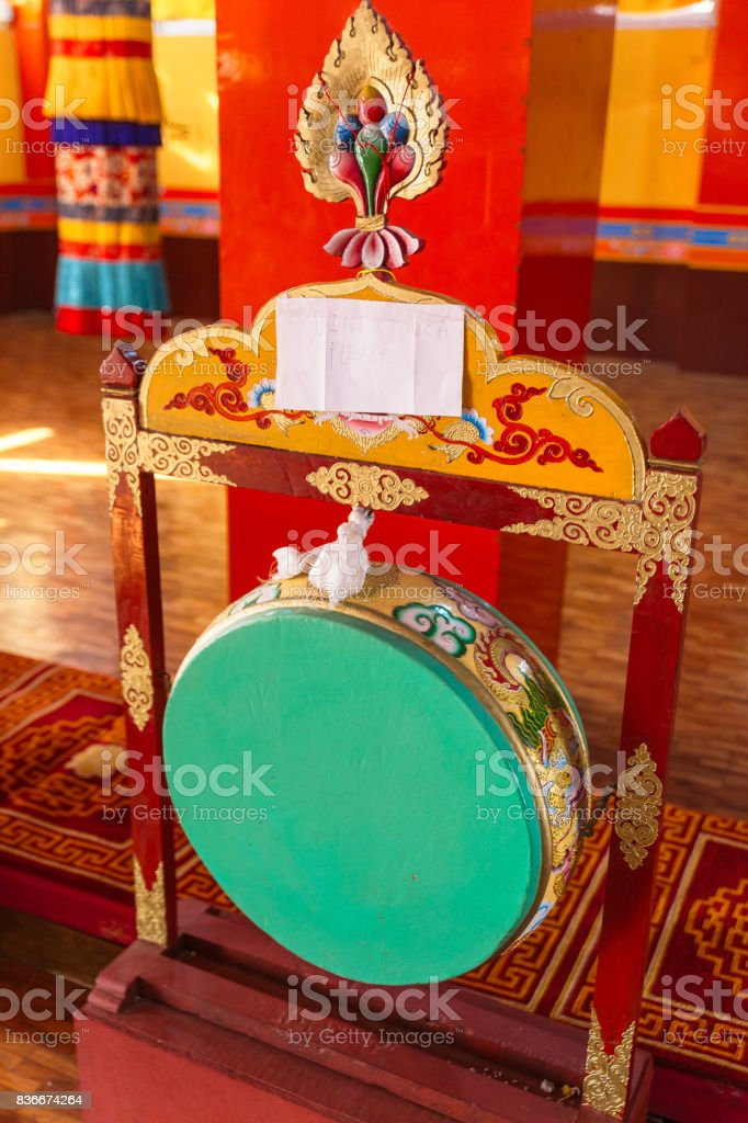 Green drum for make merit Inside Guru Rinpoche Temple at Namchi. Sikkim, India. stock photo
