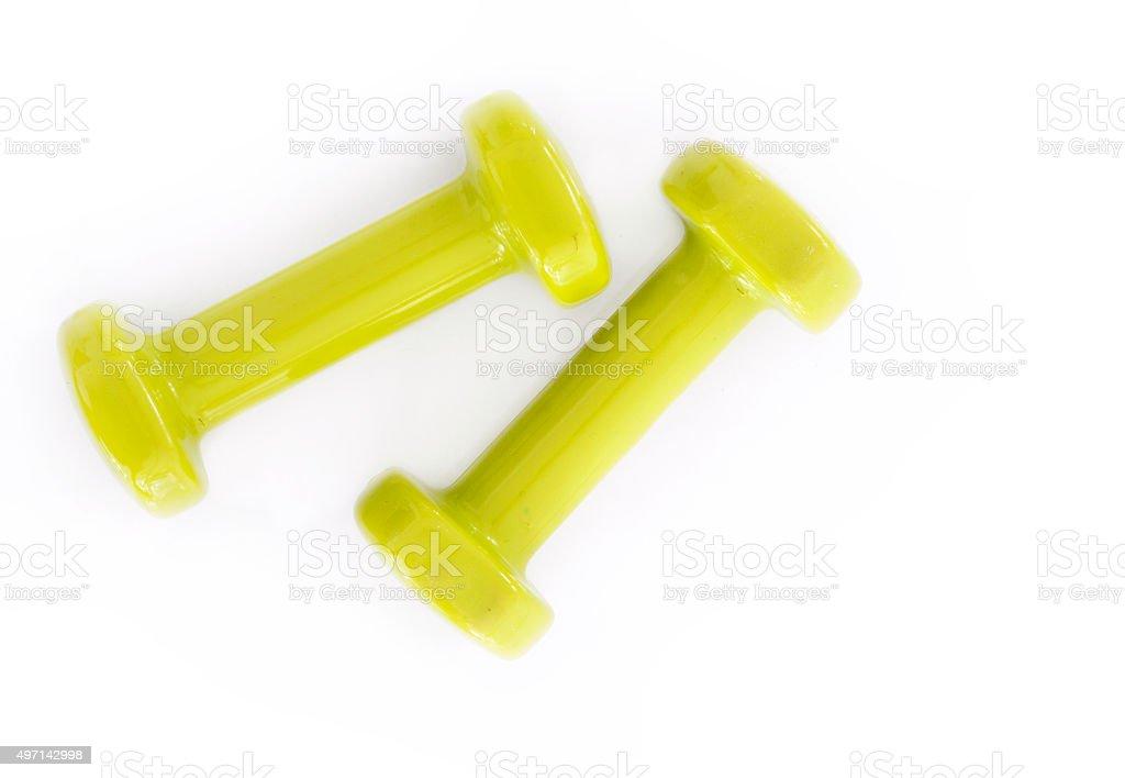 Green dumbbell stock photo