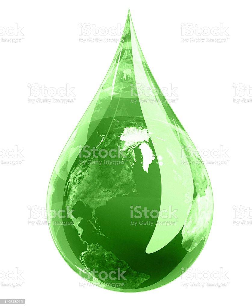 Green Earth Drop stock photo