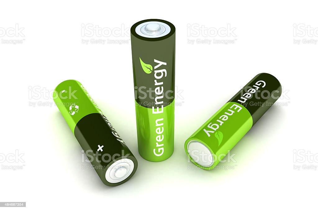 Green Eco Power Batteries stock photo
