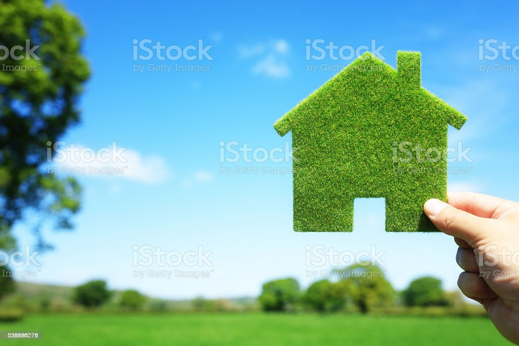 Green ecological house in empty field stock photo