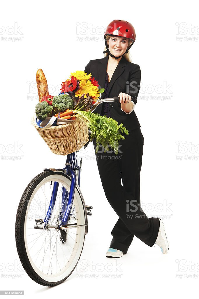 Green Ecological Lifestyle—Grocery Shopping Using Bicycle on White Background royalty-free stock photo