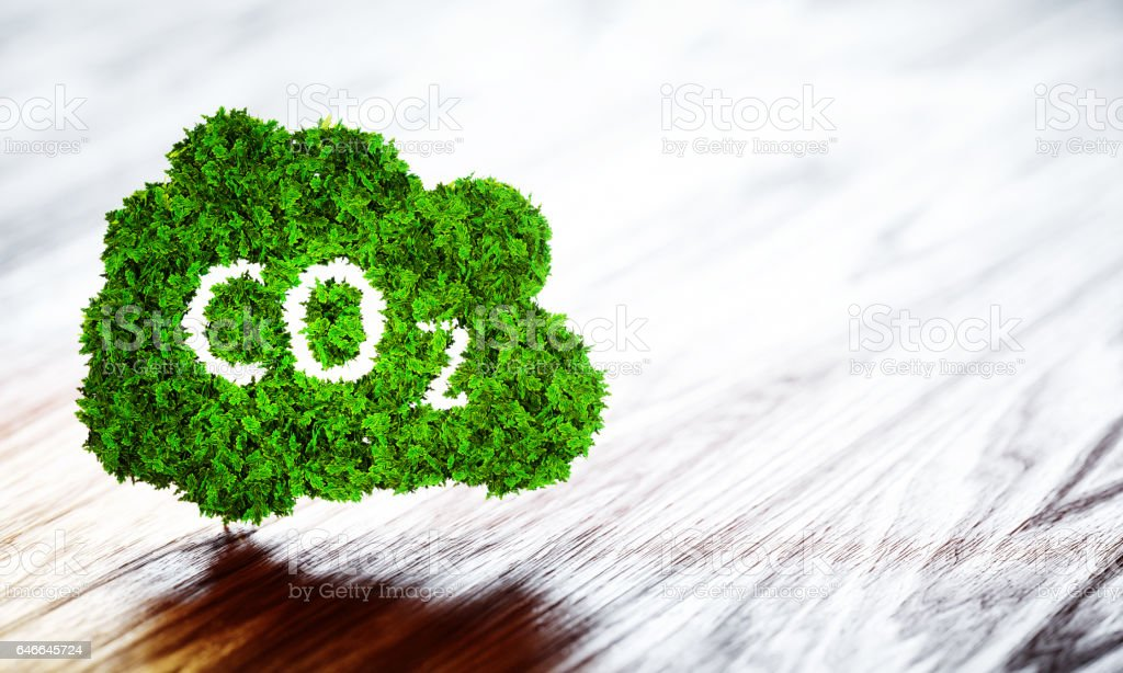 Green ecology CO2 icon on wooden background vector art illustration
