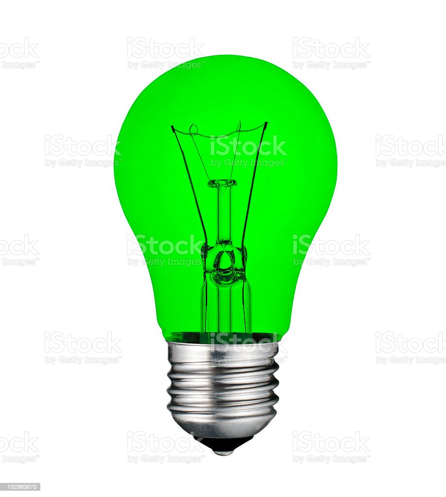 Green Economical Lightbulb Isolated on White stock photo