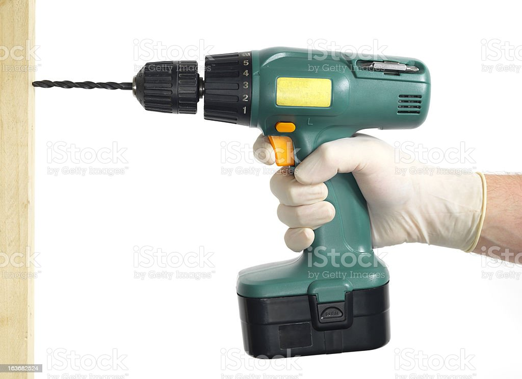 green electric drill royalty-free stock photo