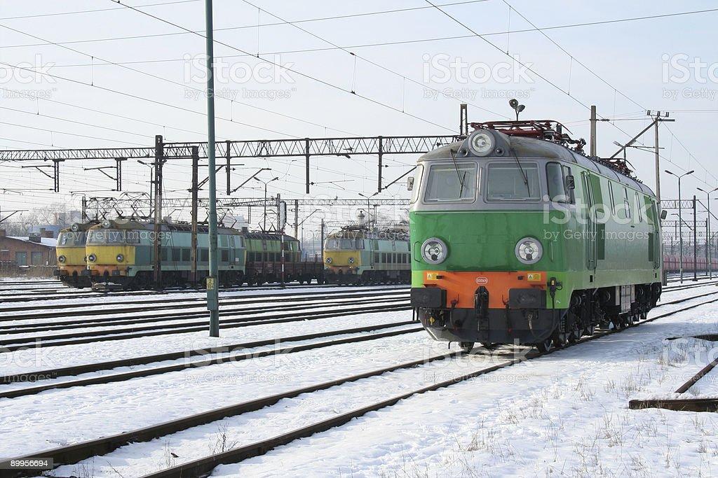 green electric locomotive royalty-free stock photo