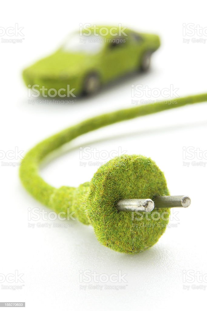 Green Electric Plug royalty-free stock photo