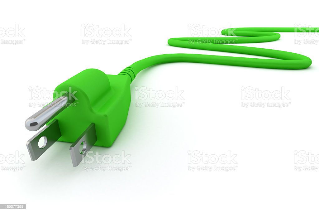 Green Electric Plug stock photo